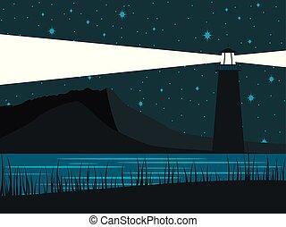 phare, sky., étoilé, incandescent, contre, rivage, vecteur, illustration, fond, nuit, sea.