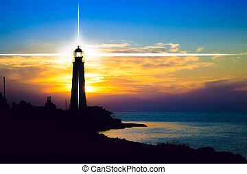 phare, sur, coucher soleil