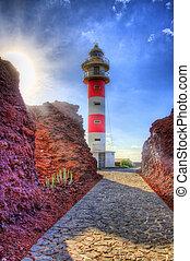 phare, teno, côte, north-west, tenerife, îles, punto, ...