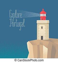 phare, vecteur, atlantique, illustration, océan