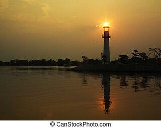 phare, vecteur, coucher soleil, illustration