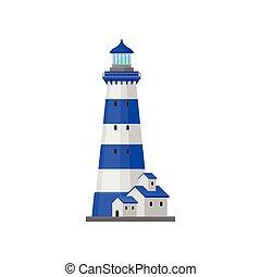 phare, vecteur, house., illustration., raies