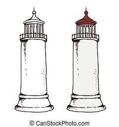 phare, vecteur, illustration