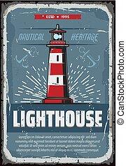 phare, vendange, affiche, mer, nautique, falaise