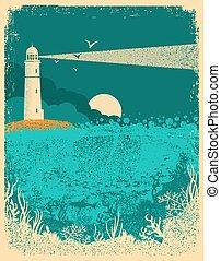 phare, waves.underwater, vieux, mer, texture, papier, coucher soleil, fond