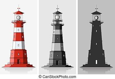 phares, lighthouses., sur, gris, grand, ensemble, fond