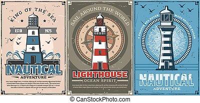 phares, voile, cordes, compas, nautique, bateau