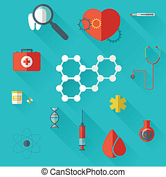 Pharma and Healthcare icons in flat design