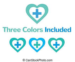 pharma, monde médical, logo, symbole, concept