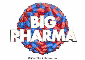 pharma, puissance, lobbying, grand, industrie, illustration...