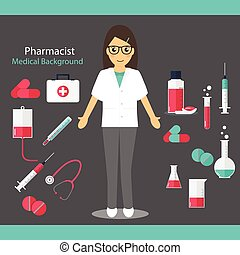 Pharmaceutic background. Pharmacist with medicine and...