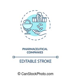 Pharmaceutical companies concept icon. Trials sponsorship idea thin line illustration. Drug, pharma company. Commercial business. Vector isolated outline RGB color drawing. Editable stroke