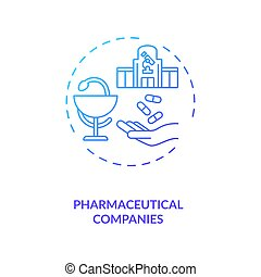 Pharmaceutical companies concept icon. Trials sponsorship idea thin line illustration. Manufacturing and supply. Pharmaceutical industry. Commercial business. Vector isolated outline RGB color drawing