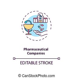 Pharmaceutical companies concept icon. Trials sponsorship idea thin line illustration. New medications discovery, development, distribution. Vector isolated outline RGB color drawing. Editable stroke