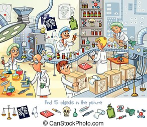 Pharmaceutical factory. Find 15 objects in the picture....