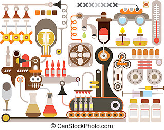 Pharmaceutical laboratory - vector illustration on white background. Medical factory.