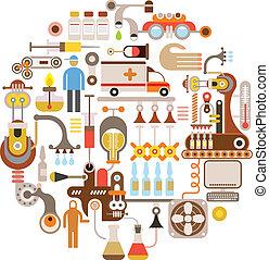 Pharmaceutical laboratory - round vector illustration on white background.