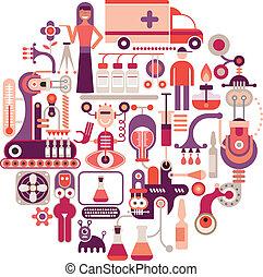 Pharmaceutical laboratory - round vector illustration on white background. Medical manufacturing.