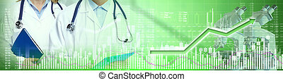 Healthcare medical biopharmaceutical investing stock chart background