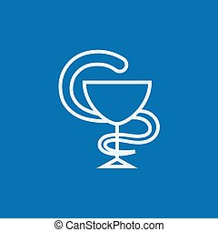 Pharmaceutical medical symbol line icon.
