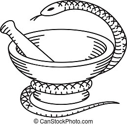 Pharmaceutical mortar, pestle and a snake. Black and white image.