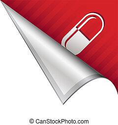 Pharmaceutical pill corner tab