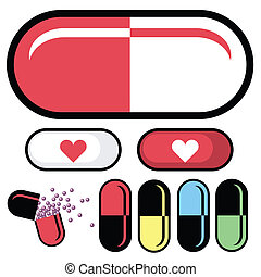 Pharmaceuticals or pill capsules as vector illustrations. Set includes pills with medical symbols, gelcaps broken open, and several color combinations.