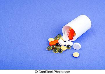pharmaceutics., 白色, 藥丸, 上, 紫色, 背景