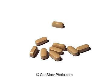 pharmaceutics, 維生素藥丸, 組, ......的, 布朗, 藥丸