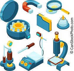 pharmaceutique, biologie, isometric., oscilloscope, science, industrie, technologie moderne, chimique, microscope, vecteur, outils, 3d