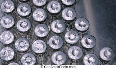 pharmaceutique, bouteilles, convoyeur, -, verre, ligne production, vide, ceinture