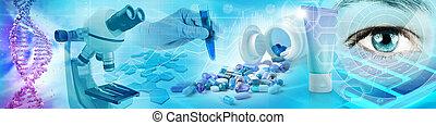 pharmaceutique, concept, biochimie, illustration, recherche, fond, 3d