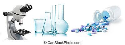 pharmaceutique, concept, fond, laboratoire