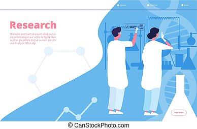 pharmaceutique, concept, scientifique, chercheur, laboratoire, recherche, chimique, vecteur, essai, clinique, laboratory., landing., chimiste
