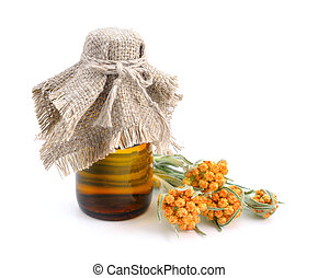 pharmaceutique, huile, luteoalbum, helichrysum, bottle., essentiel