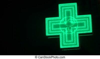 pharmaceutique, iluminated, pharmacie, cross., rue, vert, signe