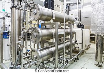 pharmaceutique, plante, industrie, chimique, canaux ...