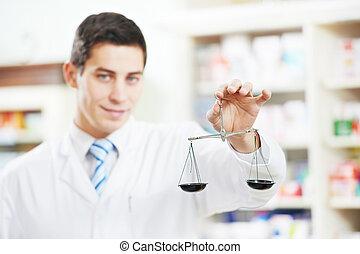 pharmacie, chimiste, pharmacie, ouvriers, deux