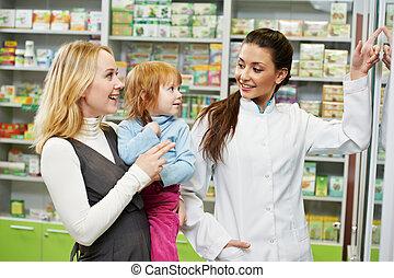 pharmacie, enfant, chimiste, pharmacie, mère
