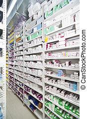 pharmacie, médicaments, arrangé, étagères