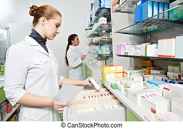 pharmacie, pharmacie, chimiste, femmes