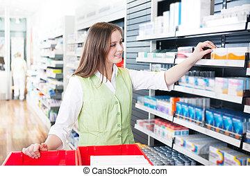 pharmacien, femme, pharmacie