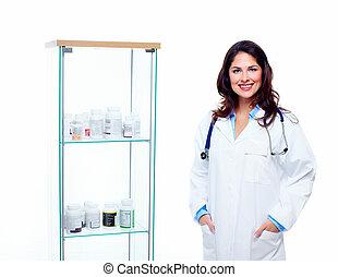 pharmacien, woman.