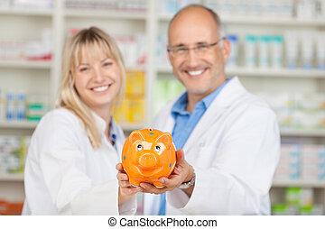 pharmaciens, piggybank, tenue, jaune, pharmacie
