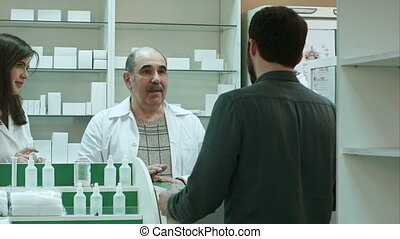 Pharmacist and client have conflict and try to solve the problem at pharmacy