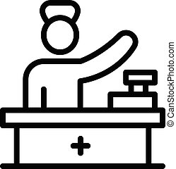 Pharmacist at checkout icon, outline style
