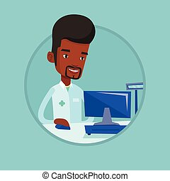 Pharmacist at counter with cash box. - African pharmacist in...