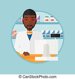 Pharmacist at counter with cash box. - An african-american...