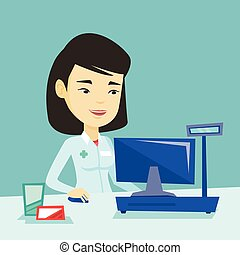 Pharmacist at counter with cash box. - Smiling asian...