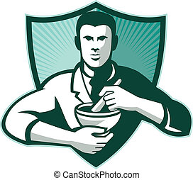 Retro style illustration of a pharmacist chemist worker mixing medicine with mortar and pestle viewed from front set inside shield.